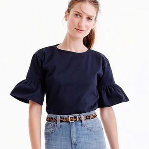 J. Crew Ruffled Cotton bell Sleeve Large Top Shirt